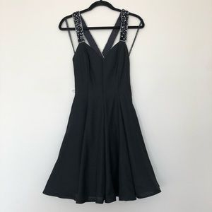 Betsy & Adam Short Cocktail Fit & Flare Dress Prom